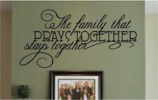 Wall Decals   The Family That Prays Together Stays Together   Religious Stickers