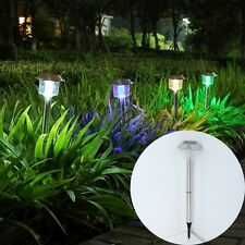 New Outdoor Garden Stainless Steel 4 LED Solar Path Landscape Light Lamp BN