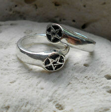 star pentagram inverted 2 VERSIONS magic silver pewter ring occult cool fashion