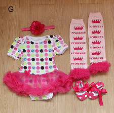Kid Newborn Infant Baby Girl Hairpin+Tulle Skirt+Leg Puttee+Shoes Sets Clothing