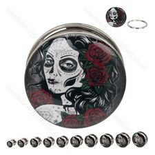 Day of the Dead Woman Ear Plug Sizes 6mm to 24mm New tunnel stretcher