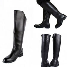 Mens Worker Military Knee High Riding Zipper Boots Faux Leather Shoes Stylish