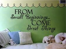 From Small Beginnings Come Great Things Nursery Vinyl Wall Decals Stickers