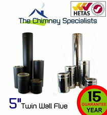 """Stainless Steel Twin Wall Insulated Flue 200/300/400/500/800/1000 5""""Pipe + Black"""
