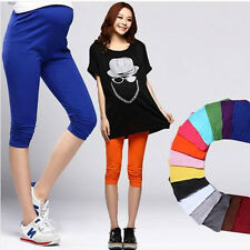Summer Cropped Solid Maternity Cotton Leggings 3/4 Length Pregnancy Pants