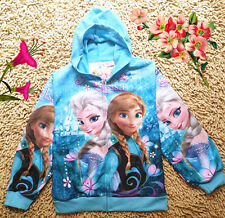 NEW HOT Disney Frozen Princess Elsa Anna Girls Kids coat jacket 2-8Yrs