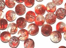 COLOURED GLASS ROUND CRACKLE CRAFT BEADS 4mm 6mm 8mm - RED / CLEAR / TRANSPARENT