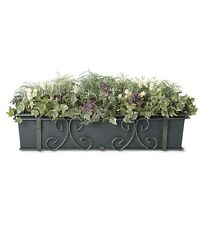 """32"""" Powder-Coated Steel Self-Watering Planter with Adjustable Brackets"""