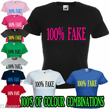 100% FAKE  LADY FIT T SHIRT RETRO FUNNY BOOBS BREASTS CHEST IMPLANTS SEXY