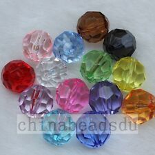10pcs 18MM 32 Facted Clear Crystal Acrylic Spacer Beads Loose Round Ball Charms