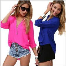 Womens Autumn V-neck Chiffon Long Sleeve Casual elegant Shirt Blouse Tops Pink