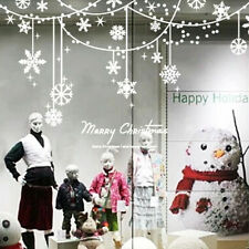 Merry Christmas Snowflake Curtain Wall Window Stickers Decals XMAS Home Shop Dec