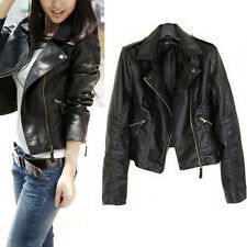 New Vintage Women Slim Biker Motorcycle PU Soft Leather Zipper Coat Jacket Black