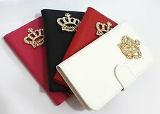 3D Crown Bling Diamond Leather Card Wallet Flip Pouch Case Cover for Nokia phone