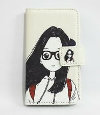 Cartoon Cute Girl & Boy Flip Leather Card Wallet Cover Case For Samsung phones
