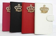 Bling Crystal Diamond Crown Flip Leather Wallet Pouch Cover Case for SONY Phones