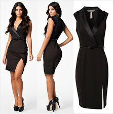 ★Women Black Deep V Tailored Collar OL Work Office Lady Dress with Belt Dress