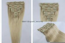 #60 Lightest Blonde Full Head Clip in 100% Remy STW Human Hair Extensions C12