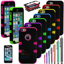 Colorful Hybrid Rugged Rubber Matter Hard Case Cover For iPhone 5 5S 5GS +Stylus