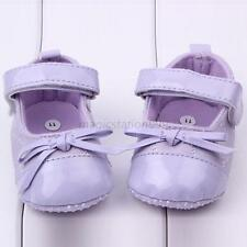 Chic Baby Toddler Girl Faux Leather Crib Shoes Bowknot Velcro Soft Shoes MAq