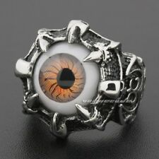 Huge Orange Eyeball Skull Claw 316L Stainless Steel Mens Biker Punk Ring D013