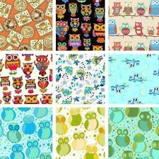 New! Owl Cotton Quilting Fabric Remnants - Cotton & Flannel - Assorted Styles