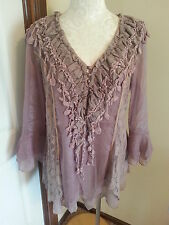 Pretty Angel Mauve Lacy Victorian Romantic Blouse - Absolutely Stunning!