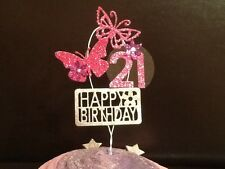 Butterfly Cupcake Decoration, Birthday topper, Glitter, With personalised age