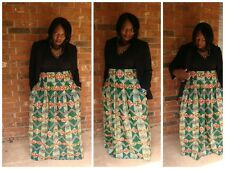 Africa print ankara women maxi skirt with pockets,Flare skirt, Africa Fashion