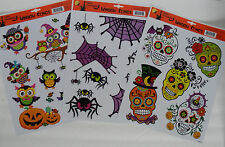 HALLOWEEN  Window Clings Day of the Dead Skulls  Owls  Spiders