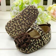 Stylish Toddler Kids Baby Girls Leopard Style Soft Soled Crib Shoes Brown MAw