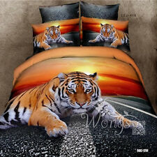 Road Tiger King/Queen/Double Size Quilt/Doona/Duvet Cover Set 100%Cotton Linen