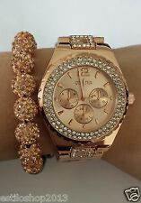 ROSE GOLD SILVER Geneva Designer Ladies Women Crystals Rhinestone  Quartz Watch