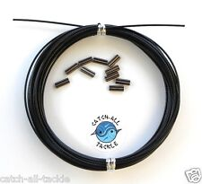 49 Strand Stainless Steel Black Vinyl Coated Cable 30ft  10 crimps 175lb-800lb