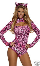 Sexy Forplay Here Kitty Kitty Cat Leopard Print Pink Bodysuit Costume 3pc