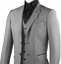 Mens Fitted Grey 3 Pcs Suit Blazer Trouser 2 Button Wedding Work Size 36 - 50