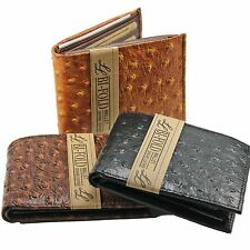 Mens Genuine Leather Wallet Bifold Ostrich Print Card Slots