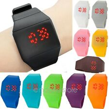 Women Men Casual Cool New Touch Digital Red Led Silicone Ultra-Thin Wrist Watch