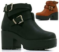 GIRLS KIDS CHILDRENS CUT OUT BOOT MID HEEL CHUNKY PLATFORM SHOES SIZE 10-2