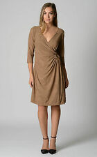 AUSTRALIAN DESIGNED & MADE Bella 3/4 Sleeve Wrap Supersuede Dress Tan RRP$249