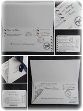 *Personalised VINTAGE Boarding Pass/Ticket Wedding Save the Dates Cards MAGNETS*