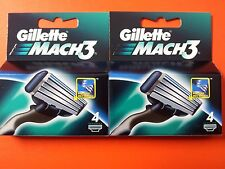 Gillette Mach3 Pack Of 4-8-12-16 Cartridges Shaving Razor Blades - New Mach3