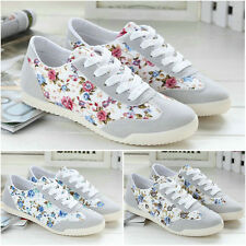 Lady's Floral Canvas Lace Up Sneakers Flat Running Athletic Sport Shoes US 4.5-8