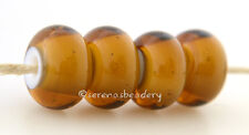 MAPLE Brown White Heart lampwork glass beads TANERES sra - glossy or matte -