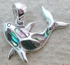 NEW - 925 STERLING SILVER Paua Shell Abalone Whale sea creature Pendant
