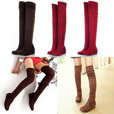HOT Womens Shoes Over The Knee High Boots Stretchy Faux Suede 3 cm Hidden Wedges