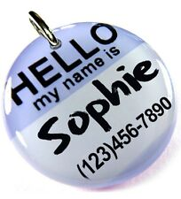 Hello My Name Is Lavender round dog cat charm custom pet tag by ID4PET