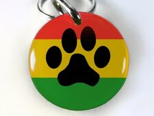 Rasta Paw Print red yellow green round cute dog cat custom pet tag by ID4PET