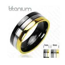 Solid Titanium Gold Plated and Onyx Colored Men's Ring Engagement Wedding Band