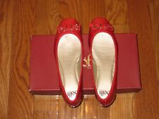 New Sofft Womens Nalda Ballet Flat Shoes Cherry Red Crinkle 6M